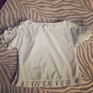 Madewell blouse top tee shirt ruffle sleeve small